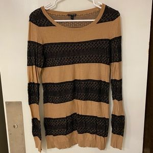Camel and black striped sweater, faux lace knit